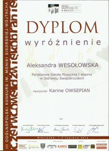 A Wesołowska wyróżnienie